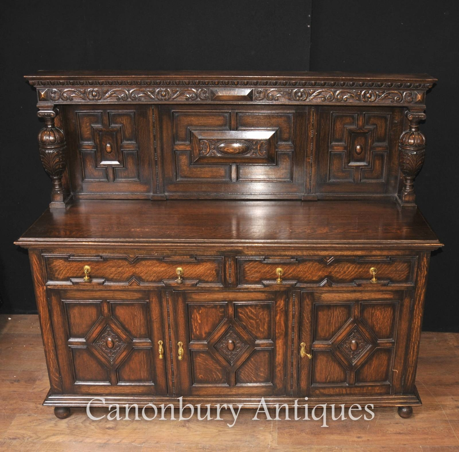 Antique Oak Jacobean Sideboard Server Buffet Kitchen Furniture | Ebay Within Jacobean Sideboards Buffets (Image 5 of 15)