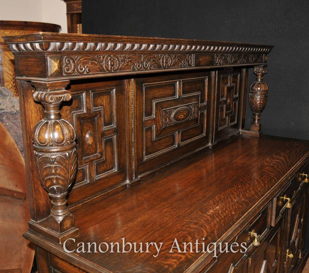 Antique Oak Jacobean Sideboard Server Buffet Kitchen Furniture | Ebay Within Jacobean Sideboards Buffets (Image 6 of 15)