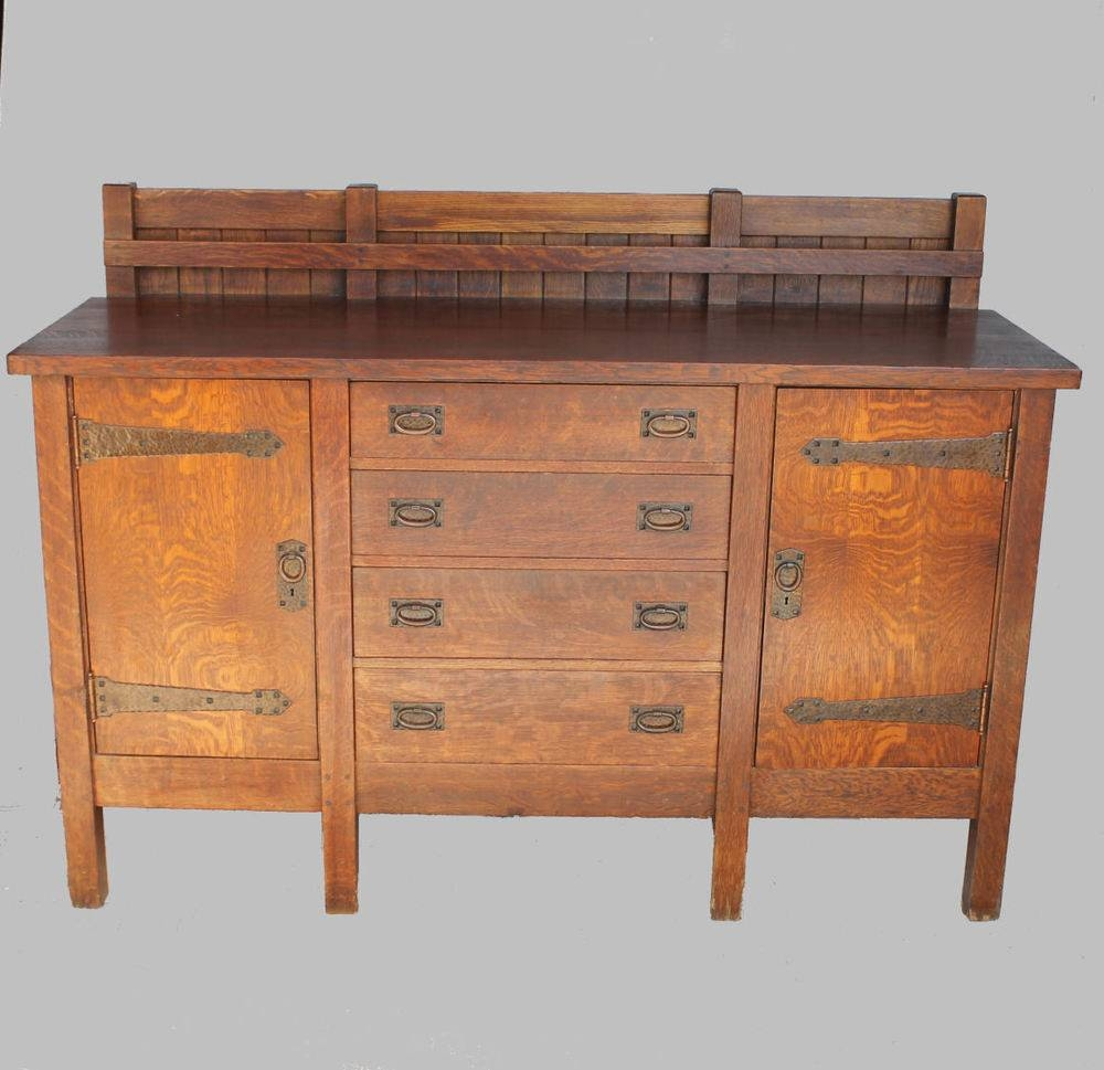 Antique Rare Gustav Stickley Eight Legged Mission Oak Sideboard with regard to Mission Style Sideboards (Image 3 of 15)