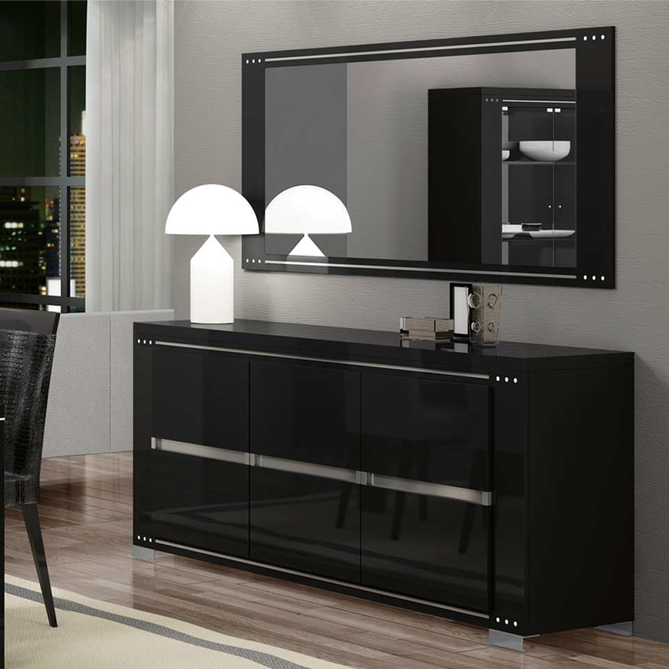Ath-Armonia Diamond Black Modern Buffet And Vetrine for Black Dining Room Sideboards (Image 1 of 15)