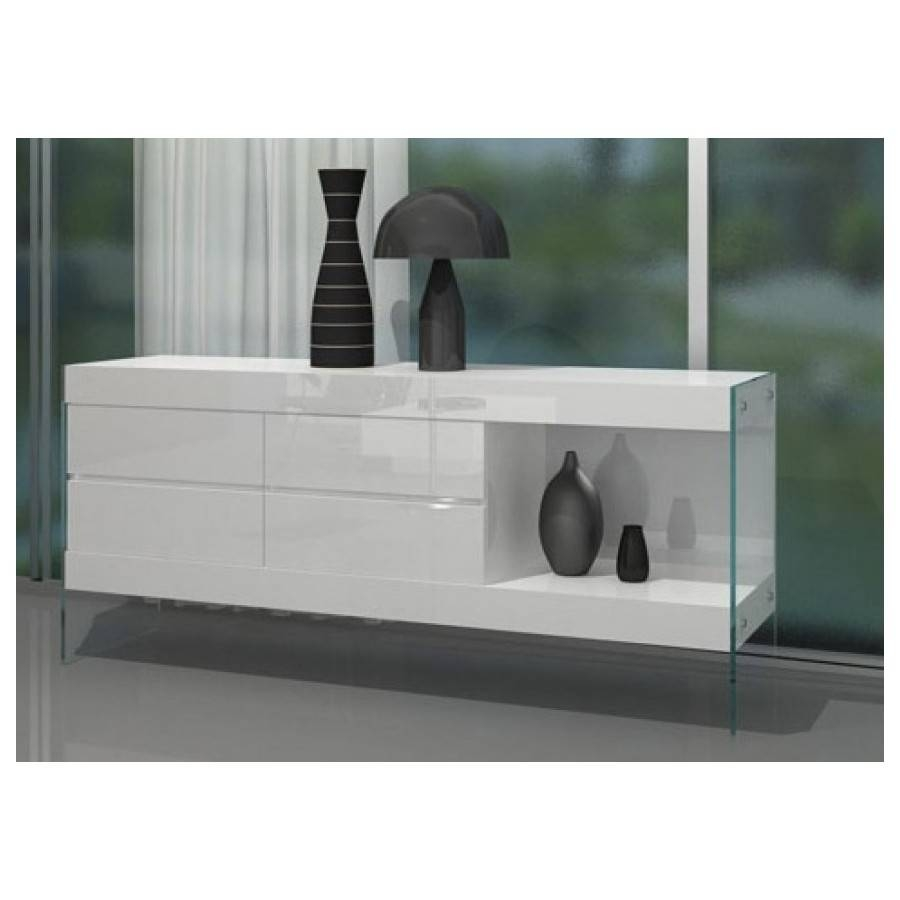 Aura Floating White Buffetvig Furniture – All World Furniture With White Sideboard Tables (View 4 of 15)