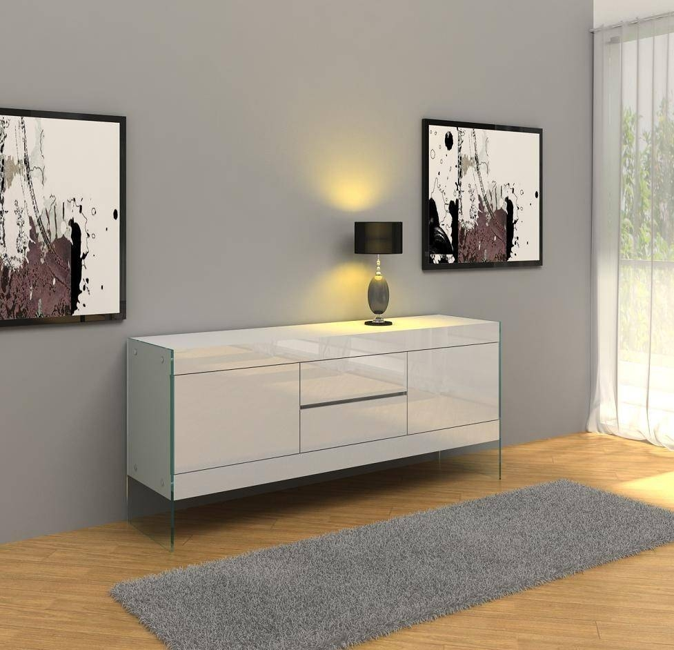 Aura Modern White Floating Buffet in Modern Buffet Sideboards (Image 1 of 15)