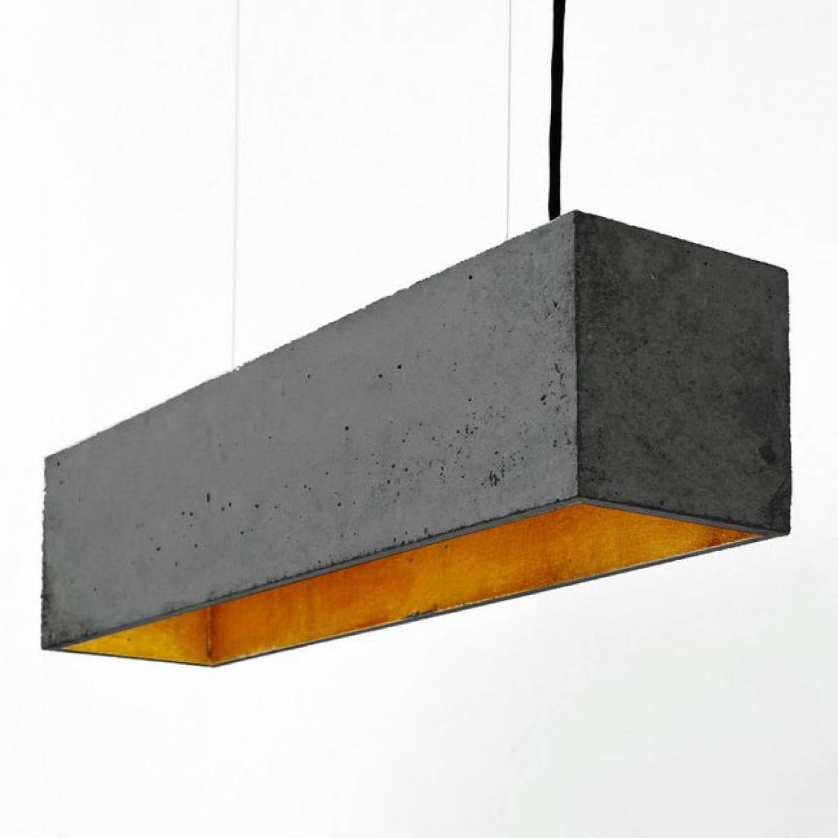 B4 Rectangular Pendant Light – Charcoal And Gold Concrete Pendant Throughout Rectangular Pendant Lights (View 7 of 15)