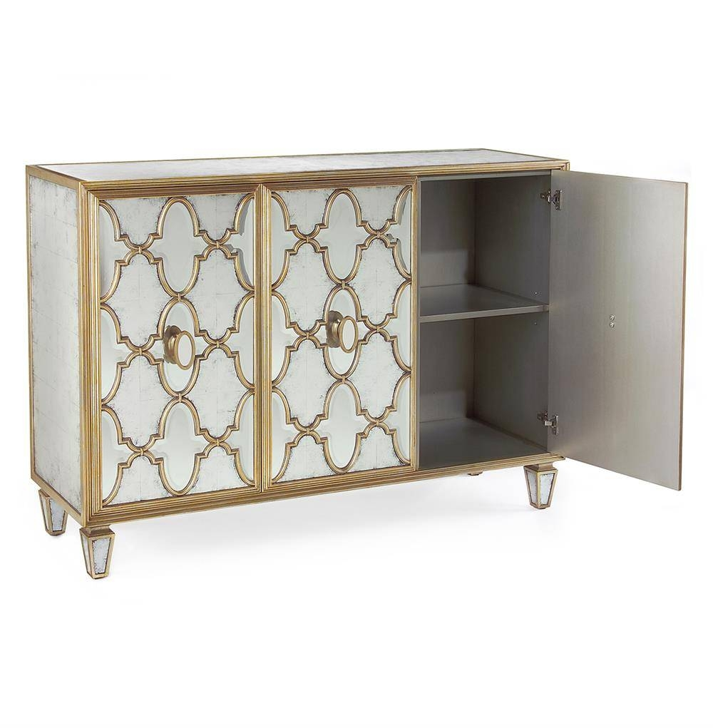 Babette Hollywood Regency Silver Leaf Mirrored Gold Lattice For Gold Sideboards (View 5 of 15)