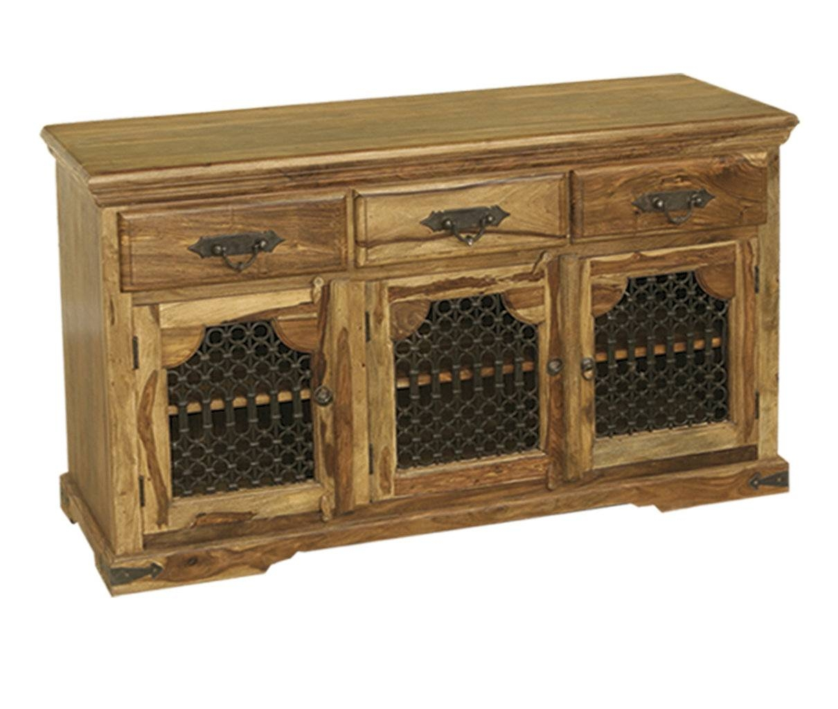 Bali Sheesham Indian Wood Furniture 3 Door Sideboard Cabinet regarding Indian Sideboard Furniture (Image 1 of 15)