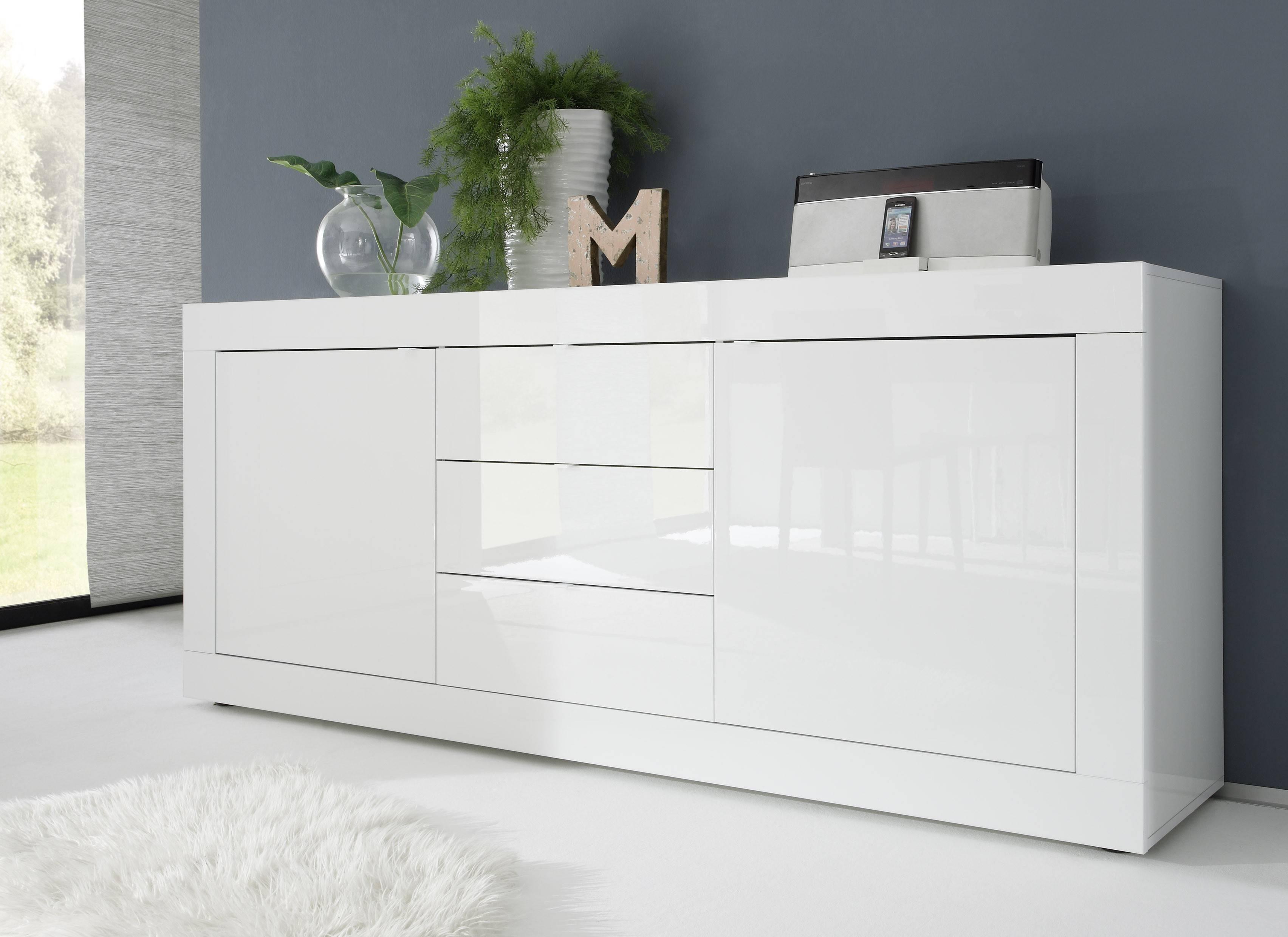 Basic Contemporary White Glossy Lacquer Dining Buffet Lincoln intended for Modern Buffet Sideboards (Image 2 of 15)