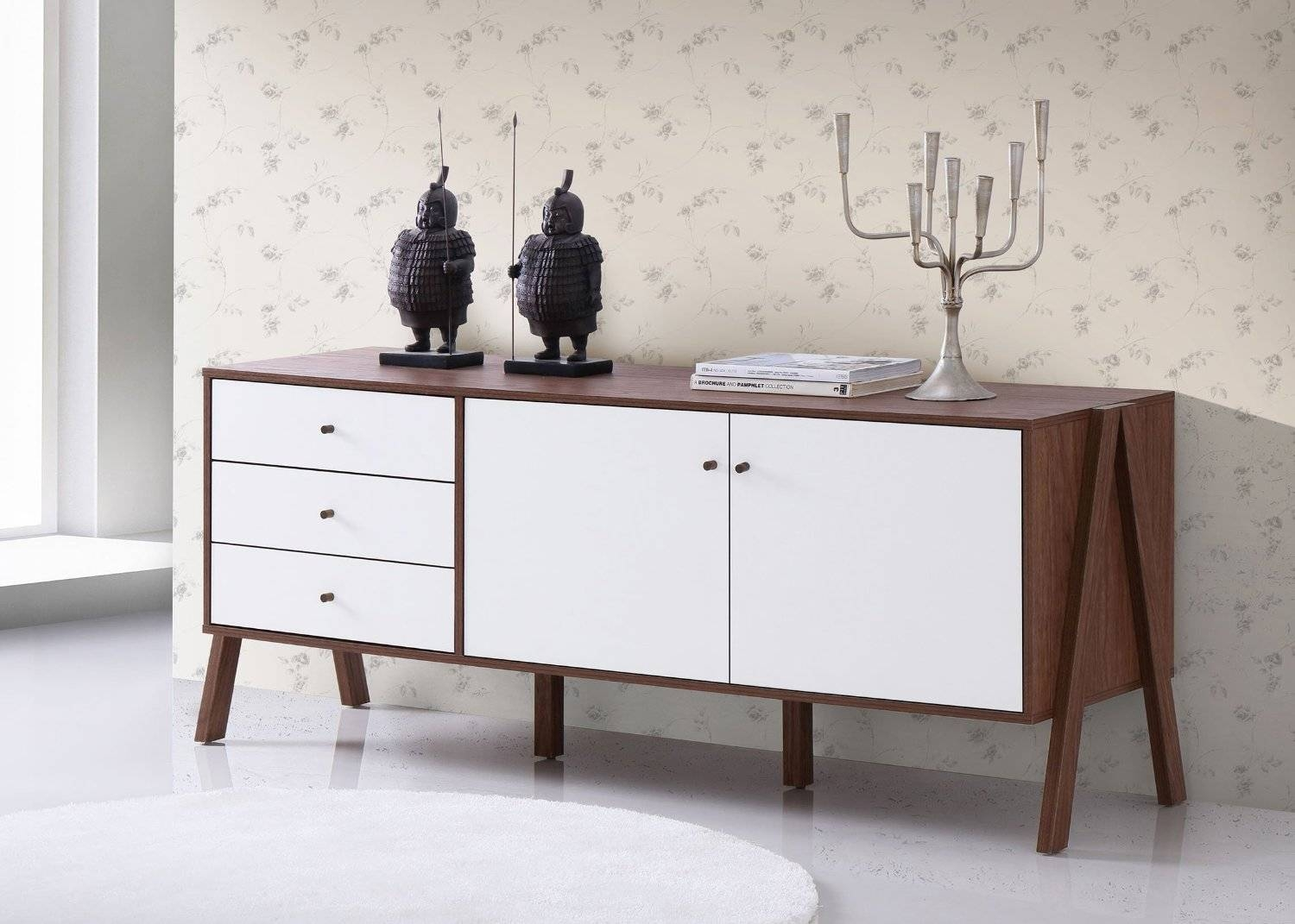 Baxton Studio Harlow Mid Century Modern Scandinavian Style White With Mid Century Modern Sideboards (View 5 of 15)
