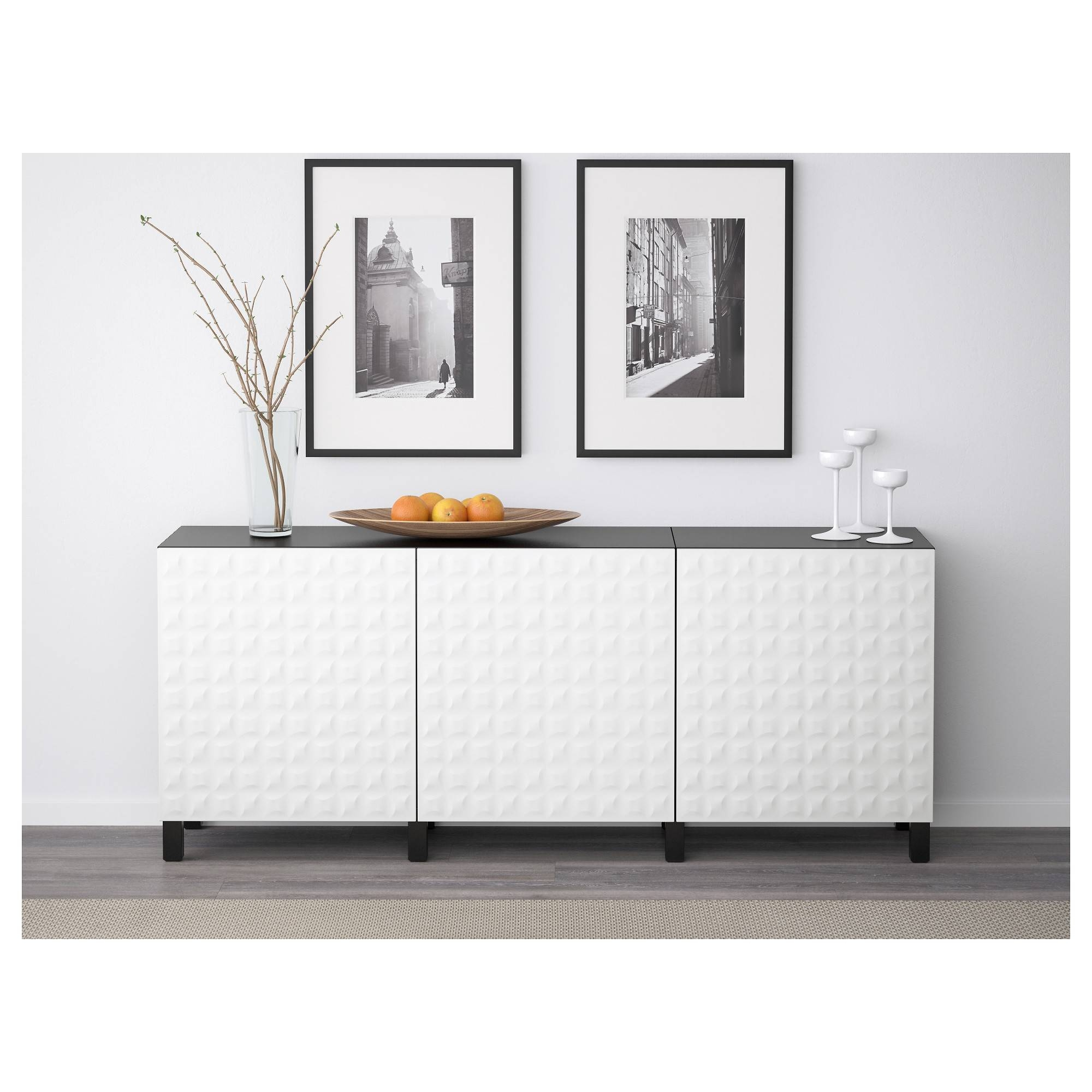 Bestå Storage Combination With Doors - White/selsviken High-Gloss in Ikea Besta Sideboards (Image 5 of 15)