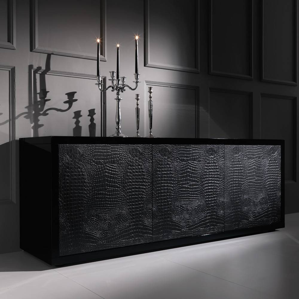 Black Alligator Embossed Leather Buffet Sideboard | Juliettes intended for Black Buffet Sideboards (Image 1 of 15)