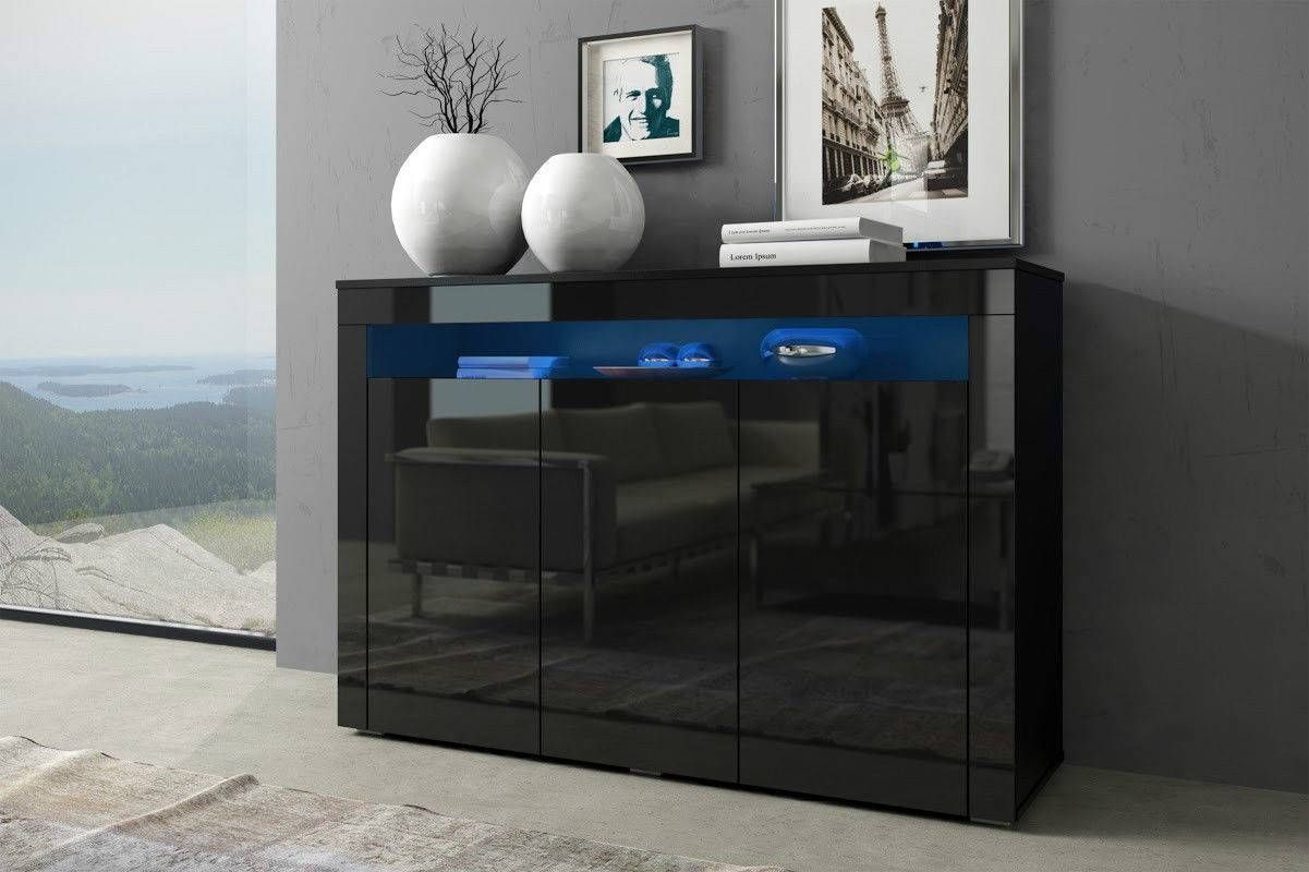 Black Gloss Doors Sideboard Modern Cabinet Cupboard Buffet Unit with Sideboards With Lights (Image 2 of 15)
