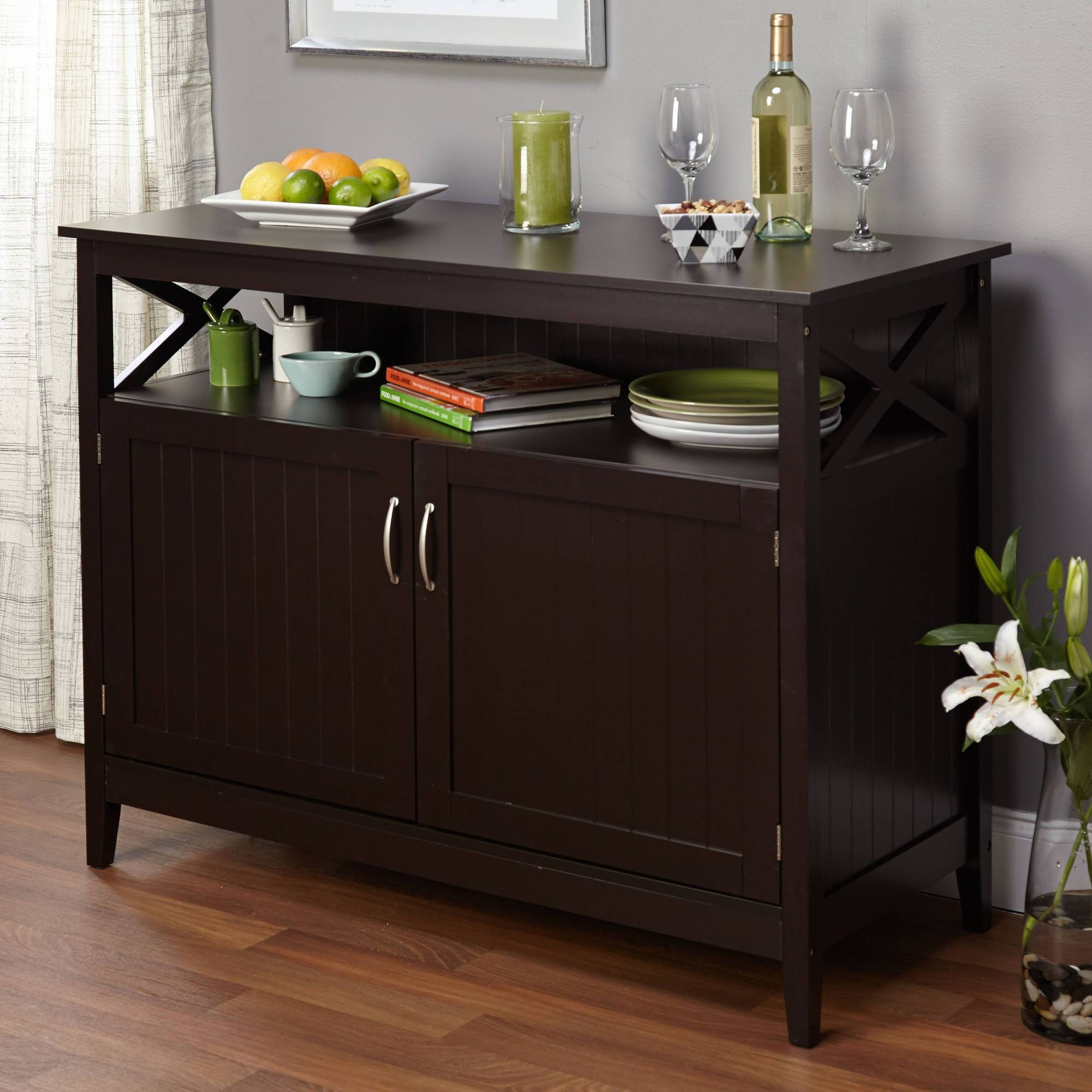 Black Sideboard With Glass Doors Images - Doors Design Ideas within Dining Buffets and Sideboards (Image 2 of 15)
