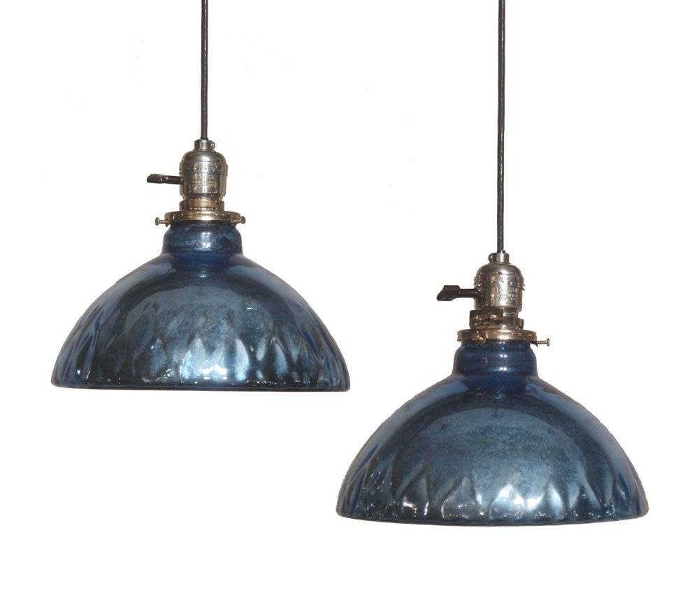 "Blue Mercury Glass"" Oil Lamp Shade Pendant Lights At 1stdibs For Blue Glass Pendant Lighting (View 8 of 15)"