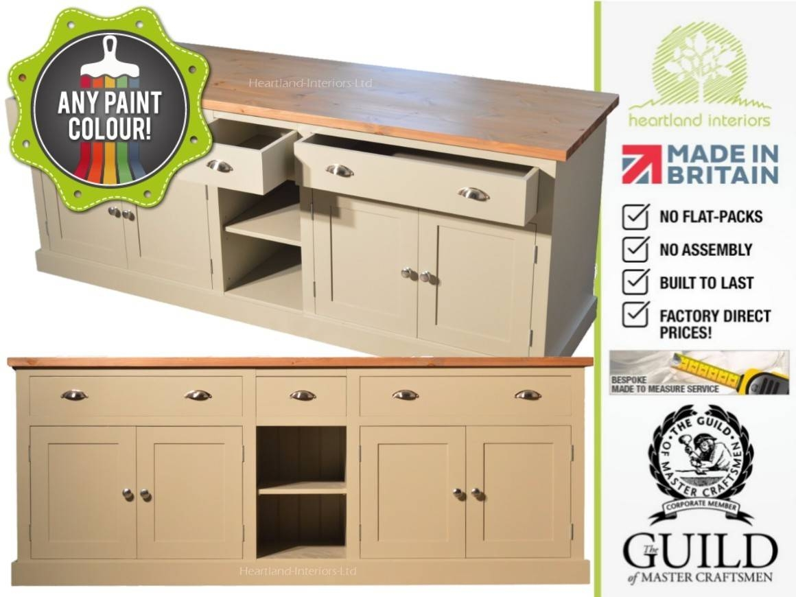 """Bordeaux F&b Painted 7ft Wide """"extra Deep"""" Sideboard With Drawers Intended For Extra Deep Sideboards (View 5 of 15)"""