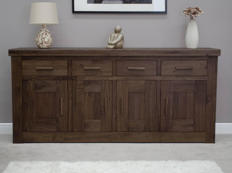 Bordeaux Solid Walnut Extra Large 4 Door Sideboard | Oak Furniture Uk Throughout Walnut Sideboards (View 8 of 15)
