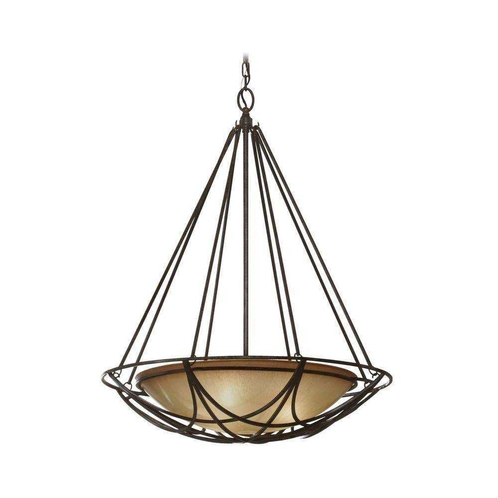 Bowl Pendant Light In Bronze Finish With Ivory Glass   F2607/3mbz In Glass Bowl Pendant Lights (View 12 of 15)