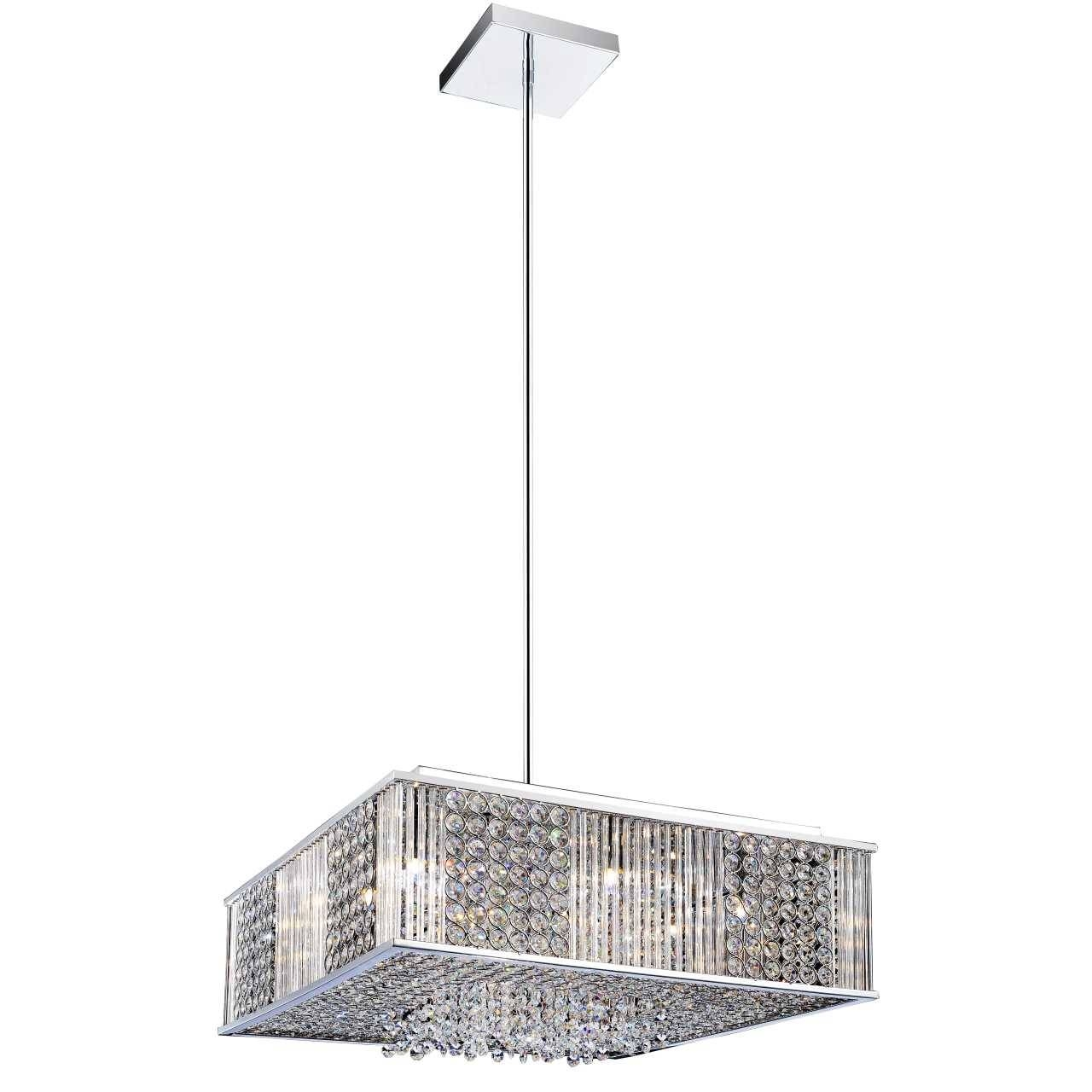 """Brizzo Lighting Stores. 16"""" Cristallo Modern Crystal Square throughout Square Pendant Light Fixtures (Image 3 of 15)"""