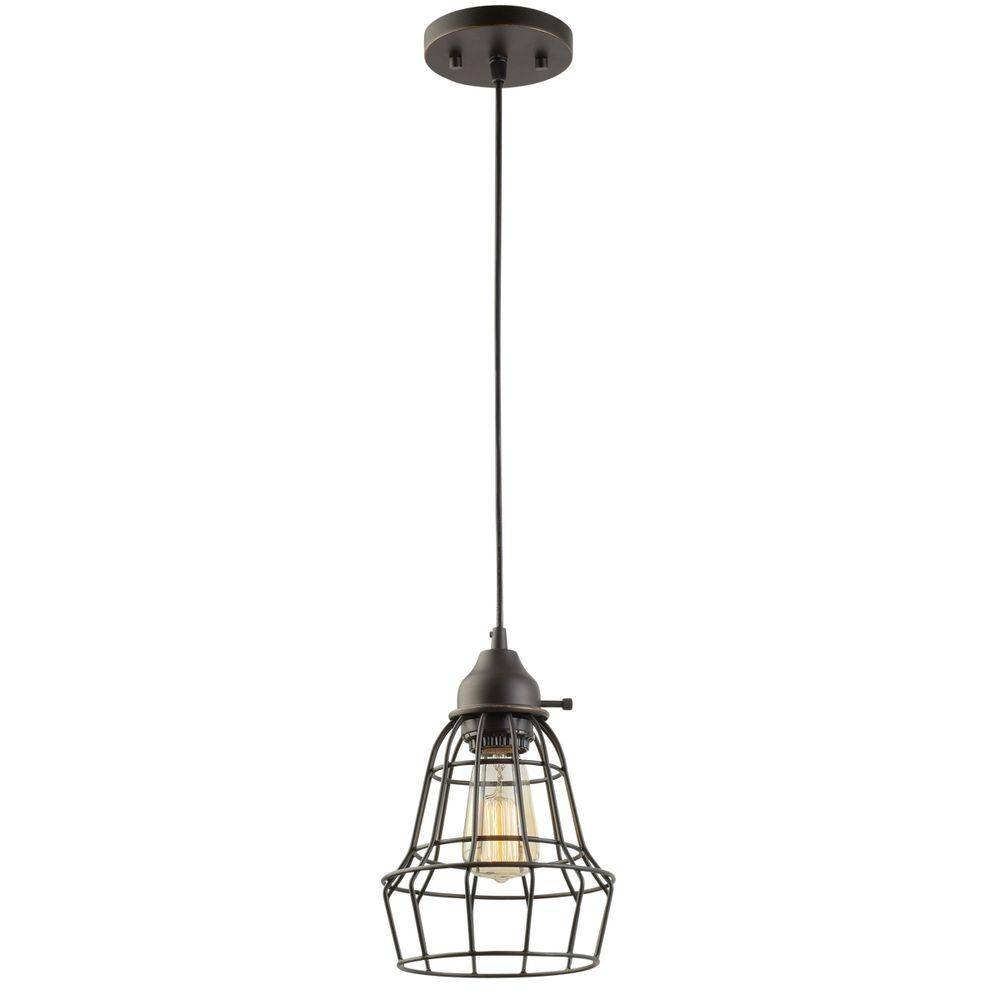 Bronze - Cage - Pendant Lights - Lighting - The Home Depot with regard to Bronze Cage Pendant Lights (Image 2 of 15)