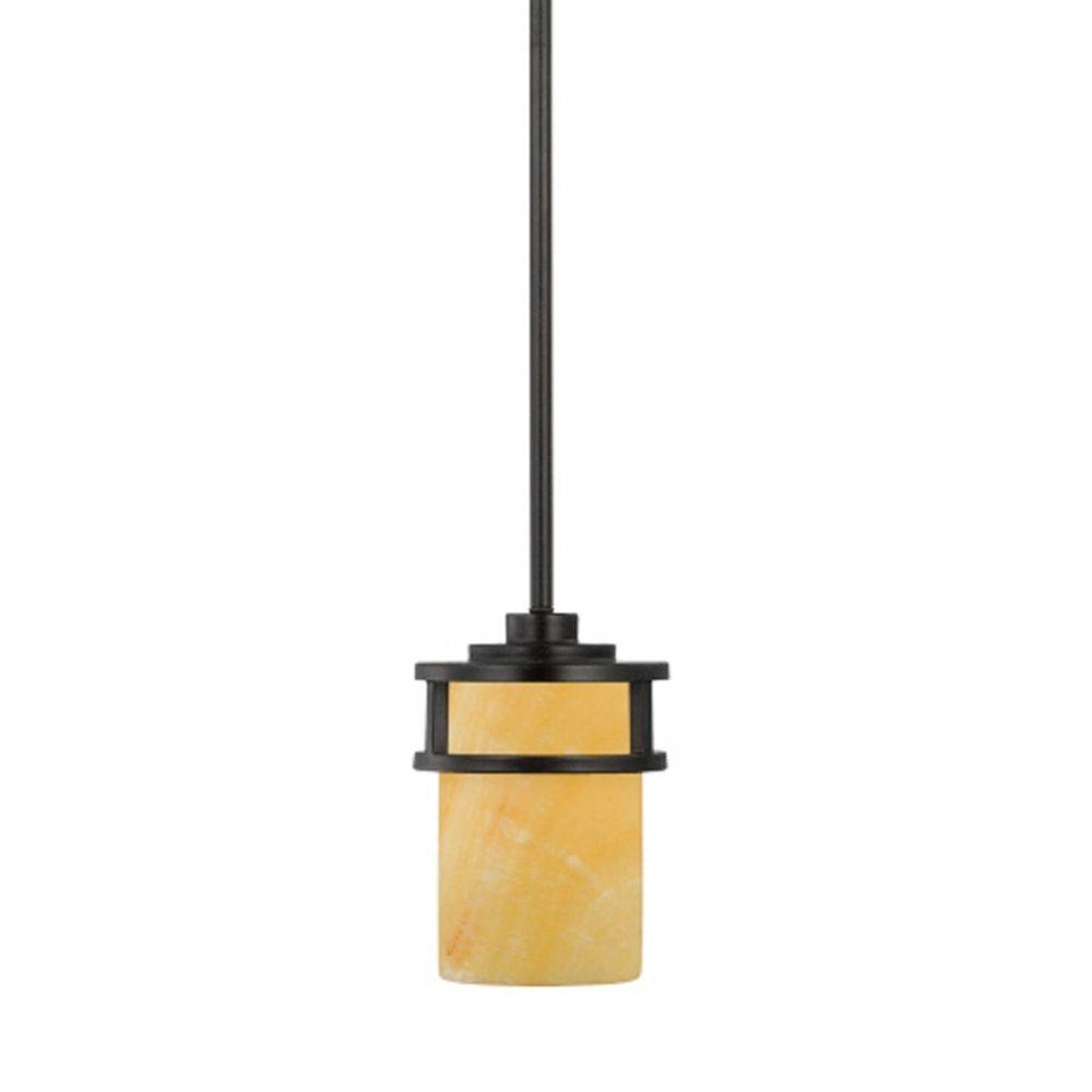 Bronze Mini Pendant Light With Onyx Cylinder Shade | Ky1508ib For Cylinder Pendant Lights (View 10 of 15)