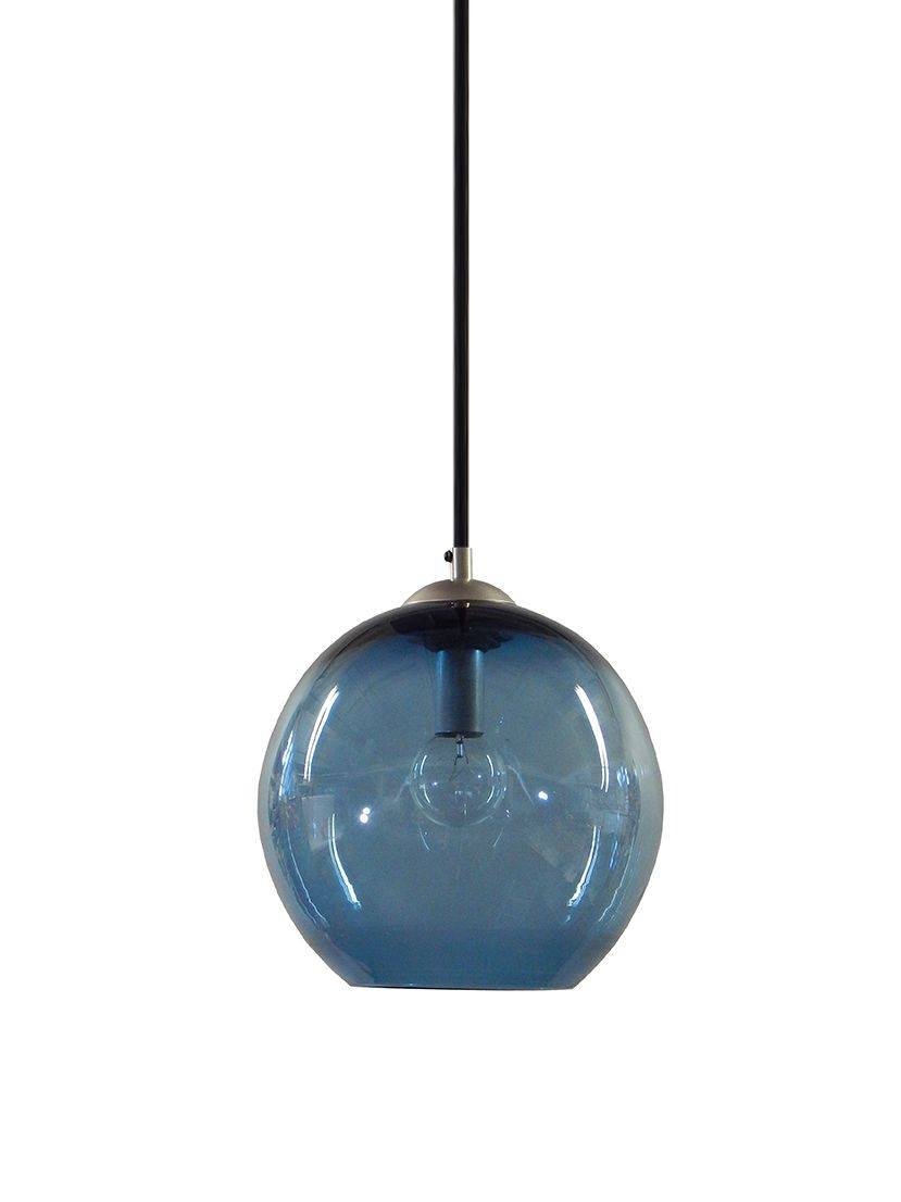 Buy A Custom Steel Blue Gumball Hand Blown Glass Pendant Lighting For Blue Glass Pendant Lights (View 2 of 15)
