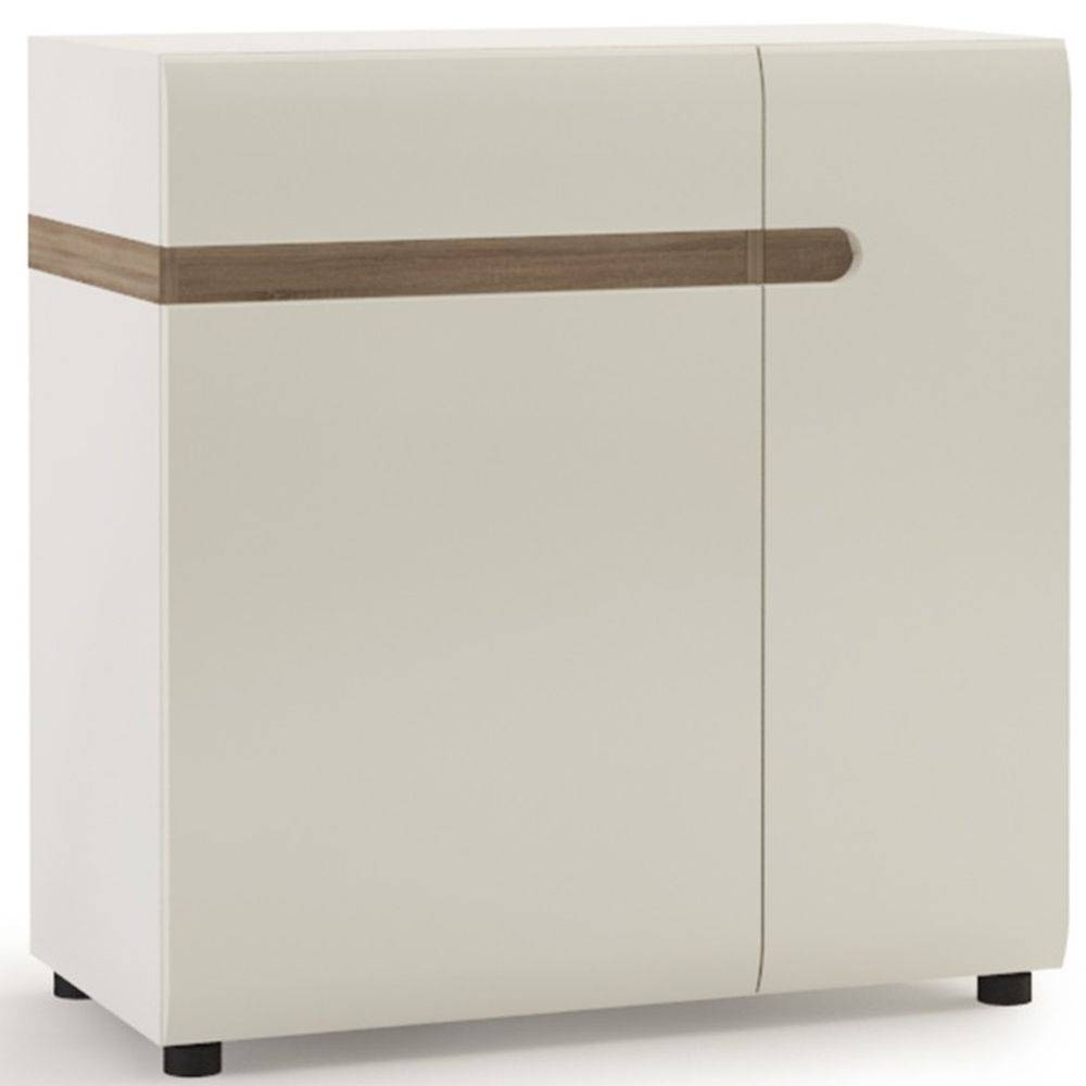 Buy Chelsea White High Gloss Sideboard With Truffle Oak Trim Inside High White Gloss Sideboards (View 6 of 15)