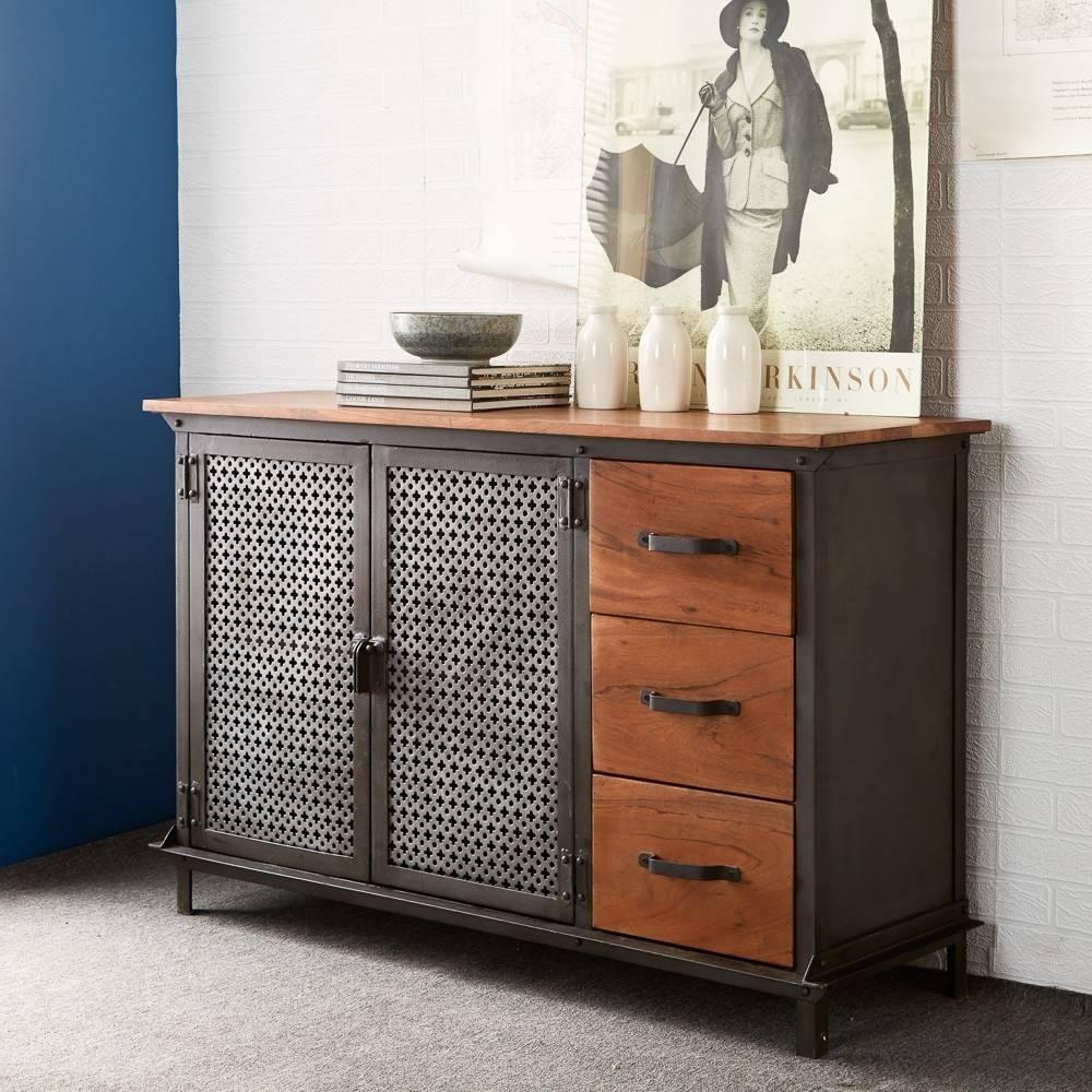 Buy Indian Hub Evoke Iron And Wooden Jali 3 Drawer Sideboard intended for Indian Sideboard Furniture (Image 2 of 15)