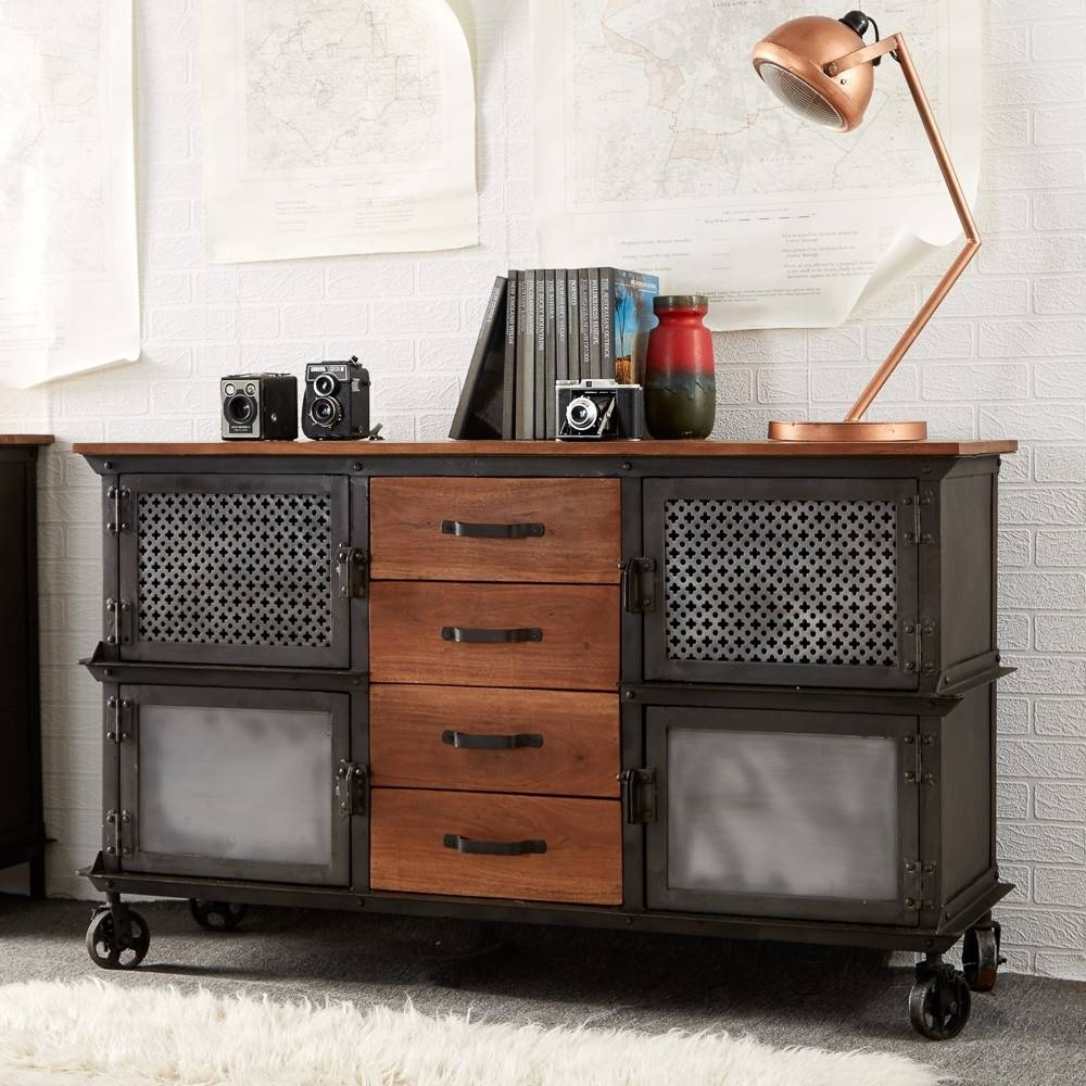 Buy Indian Hub Evoke Iron And Wooden Jali 4 Drawer Sideboard regarding Indian Sideboard Furniture (Image 3 of 15)