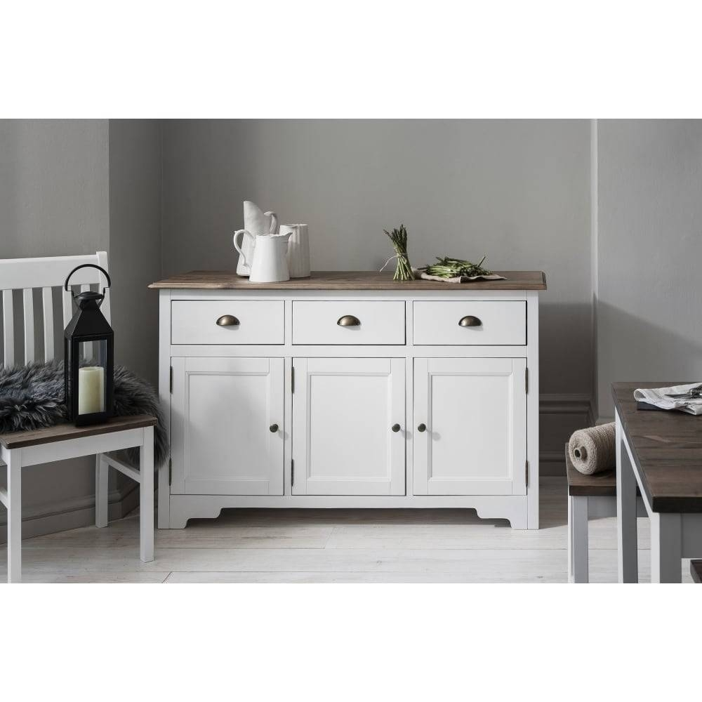 Canterbury 3 Drawer Sideboard In White & Dark Pine | Noa & Nani Within White Sideboard Tables (View 15 of 15)