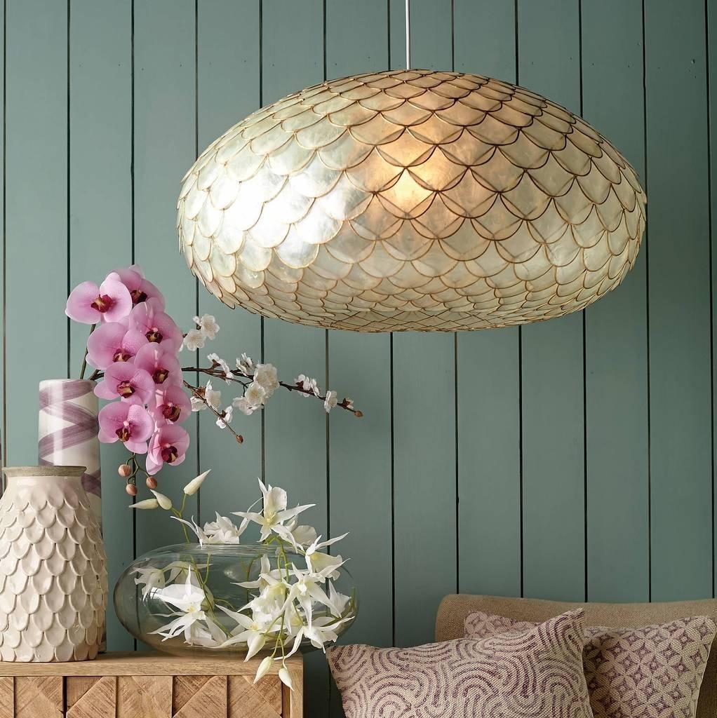 Capiz Shell Pendant Lamp In Shell Pendant Lights (View 1 of 15)