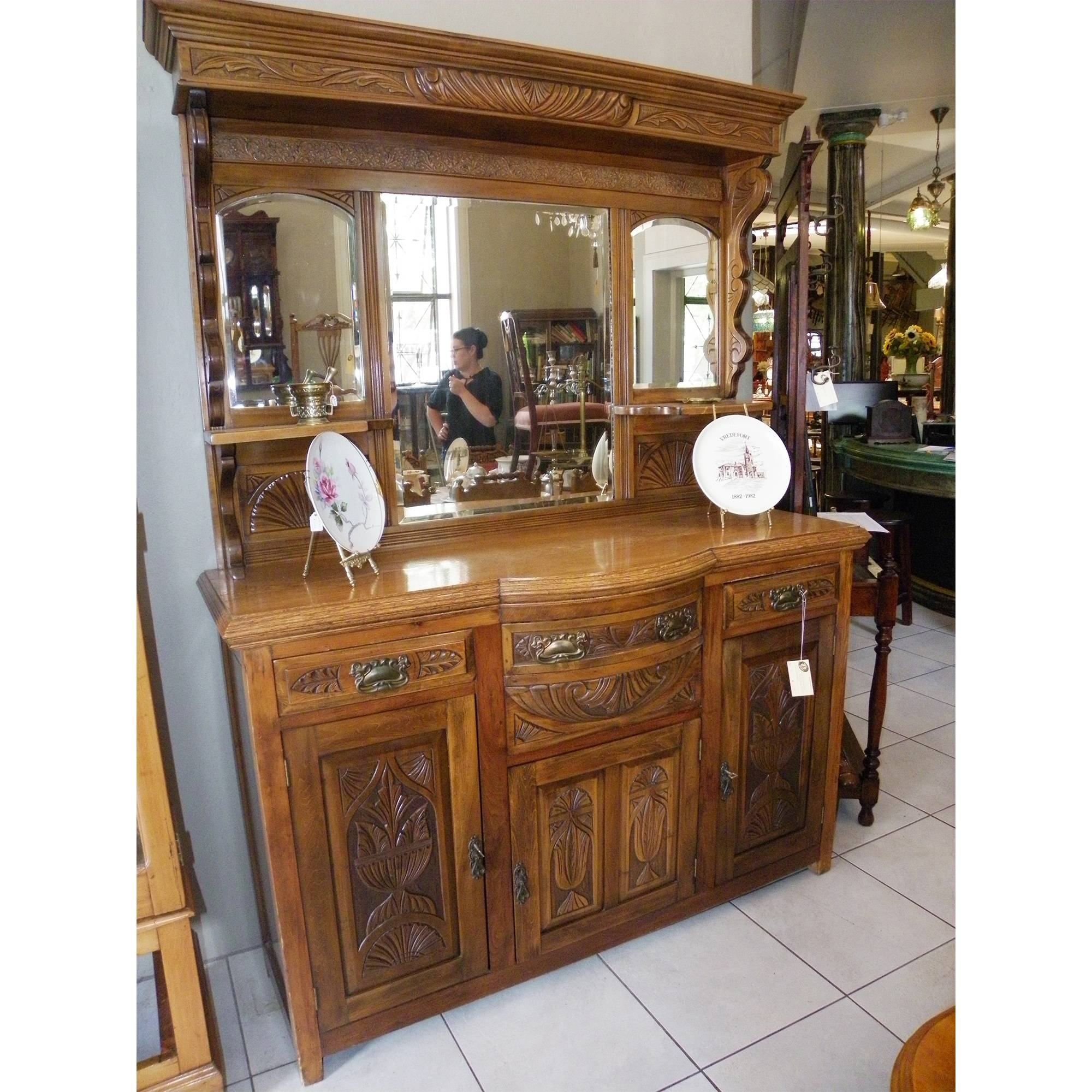 Carved Edwardian Oak Brass Wood Mirror-Back Sideboard | Pine's pertaining to Antique Sideboards With Mirror (Image 4 of 15)