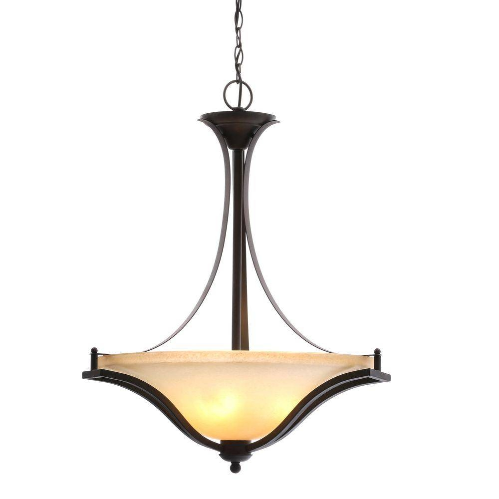 Center Bowl – Pendant Lights – Lighting – The Home Depot Pertaining To Glass Bowl Pendant Lights (View 15 of 15)