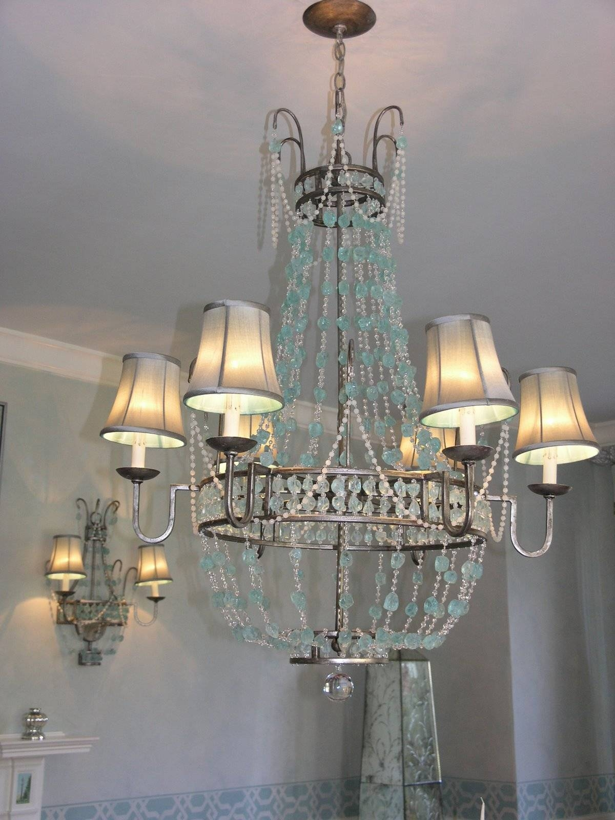 Chandeliers Design : Amazing Sea Glass Chandelier Online Seaglass within Sea Glass Pendant Lights (Image 3 of 15)