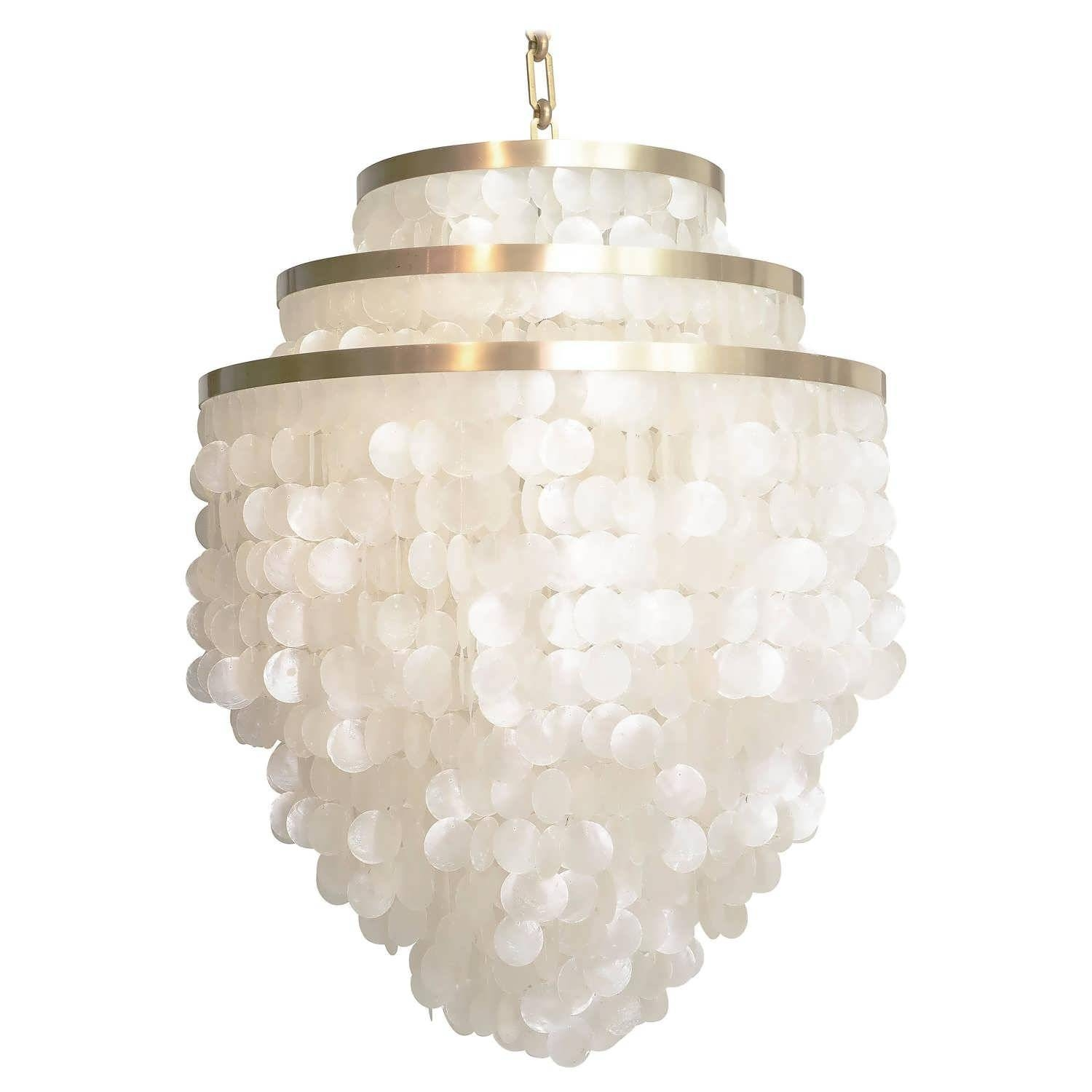 Chandeliers Design : Awesome Silver Chandelier Copper Capiz Shell Pertaining To Shell Pendant Lights (View 3 of 15)