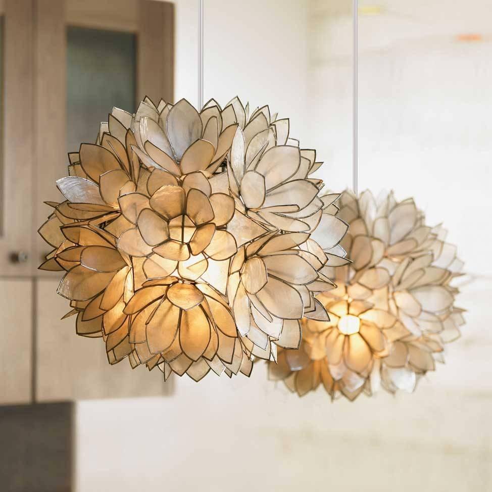 Chandeliers Design : Marvelous Capiz Rectangular Chandelier In Flower Pendant Lights (View 13 of 15)
