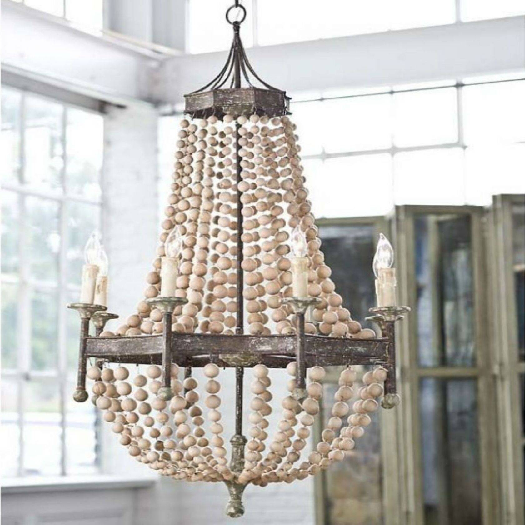 Chic Coastal Chandeliers Iron Rope Driftwood Sea Glass Nautical With Regard To Sea Glass Pendant Lights (View 8 of 15)