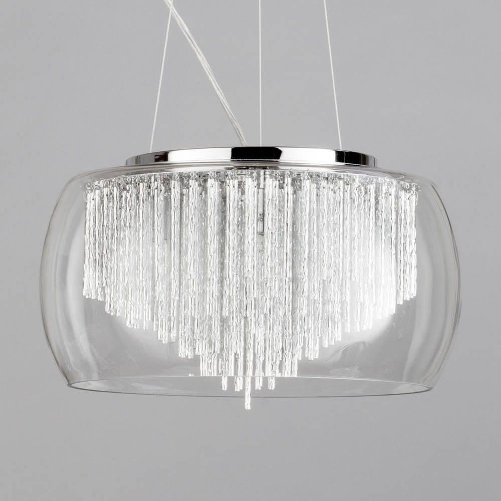 Chrome & Glass 5 Light Ceiling Pendant Shade Aluminium Rods With Regard To Glass Bowl Pendant Lights (View 13 of 15)