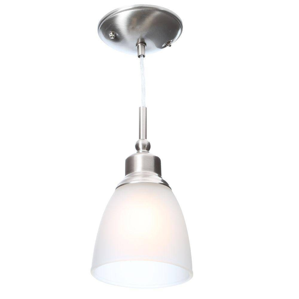 Commercial Electric 1-Light Brushed Nickel Mini Pendant With with regard to White Mini Pendant Lights (Image 3 of 15)