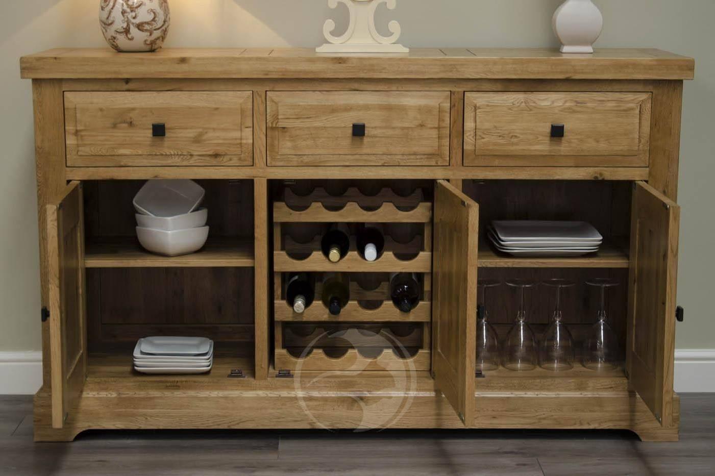 Coniston Rustic Solid Oak Large Sideboard | Oak Furniture Uk for Rustic Oak Large Sideboards (Image 2 of 15)