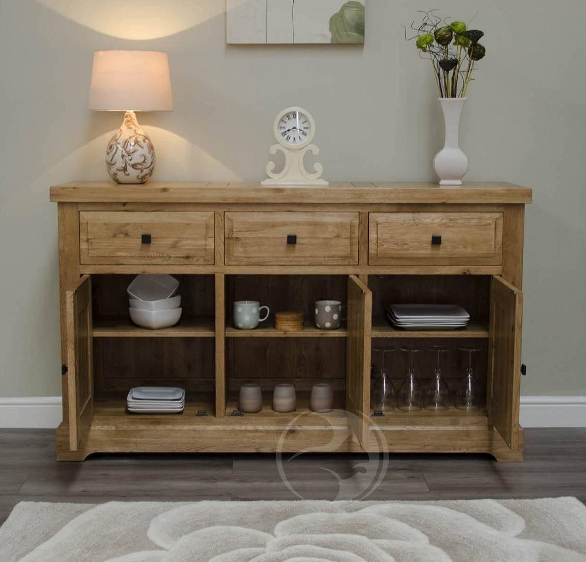 Coniston Rustic Solid Oak Large Sideboard | Oak Furniture Uk regarding Rustic Oak Large Sideboards (Image 4 of 15)