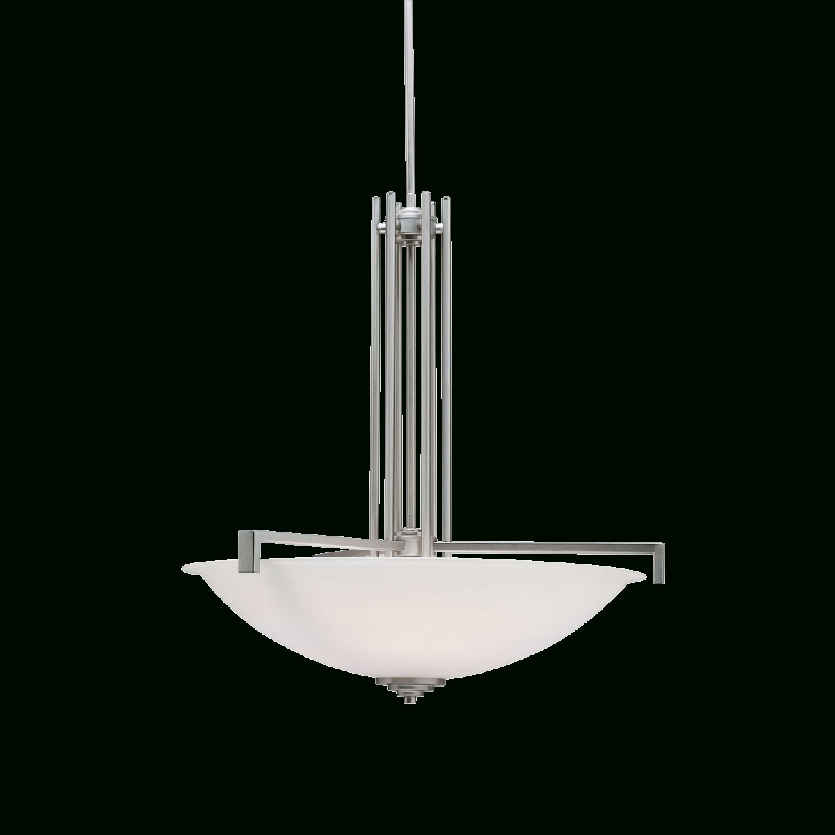 Contemporary 4 Light Inverted Pendant (3299Ni) Brushed Nickel with Inverted Pendant Lighting (Image 4 of 15)