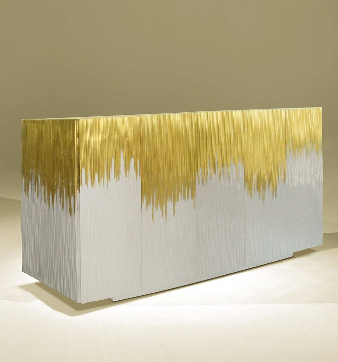 Contemporary Sideboard / Lacquered Wood / White / Golden – Moon Regarding Gold Sideboards (View 11 of 15)