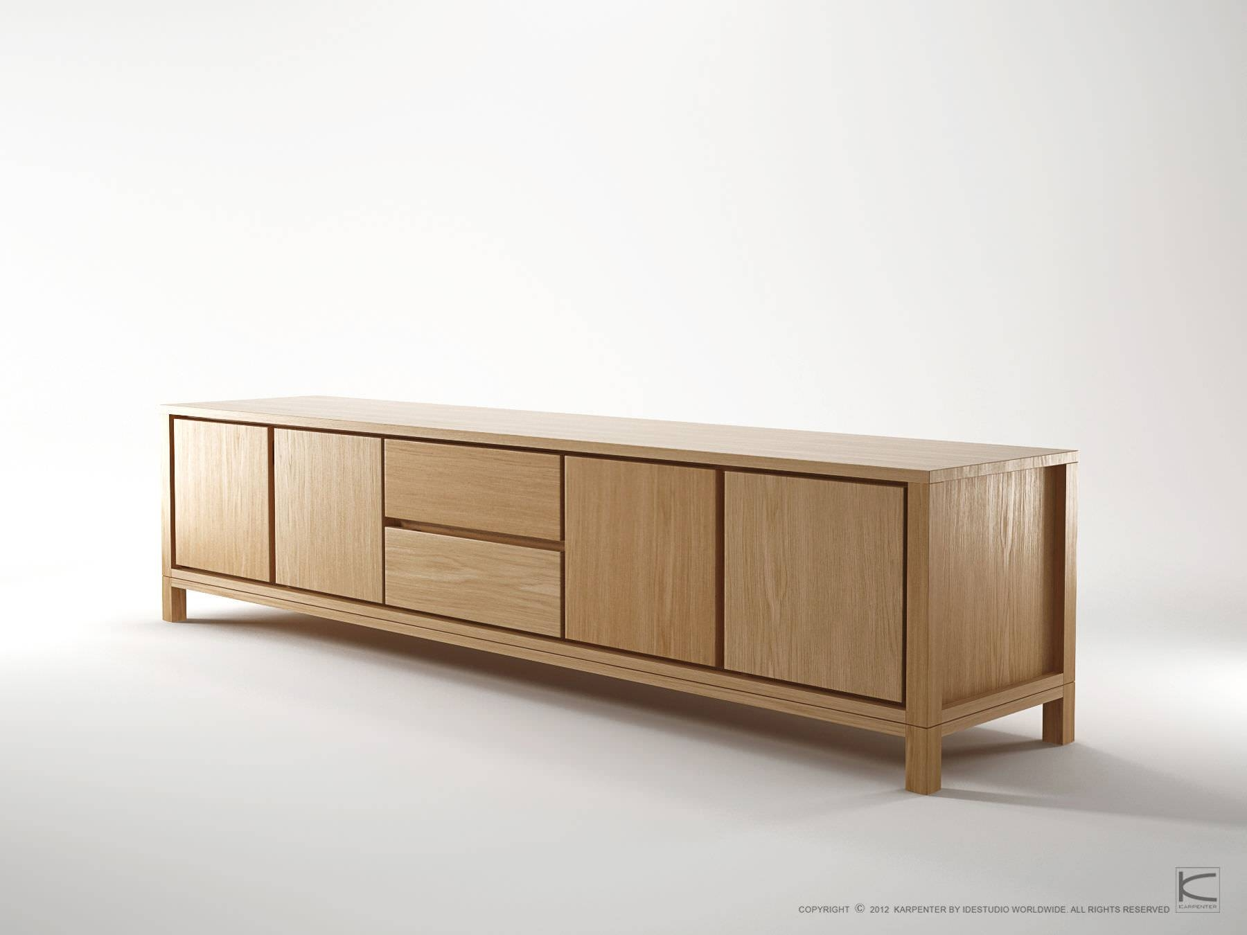 Contemporary Sideboard / Oak / Walnut / Solid Wood - Solid - Karpenter inside Solid Wood Sideboards (Image 3 of 15)