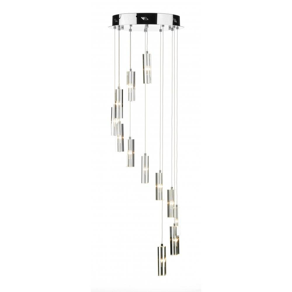 Contemporary Spiral Ceiling Pendant Light With Crystal Glass Shades With Long Pendant Lighting (View 5 of 15)
