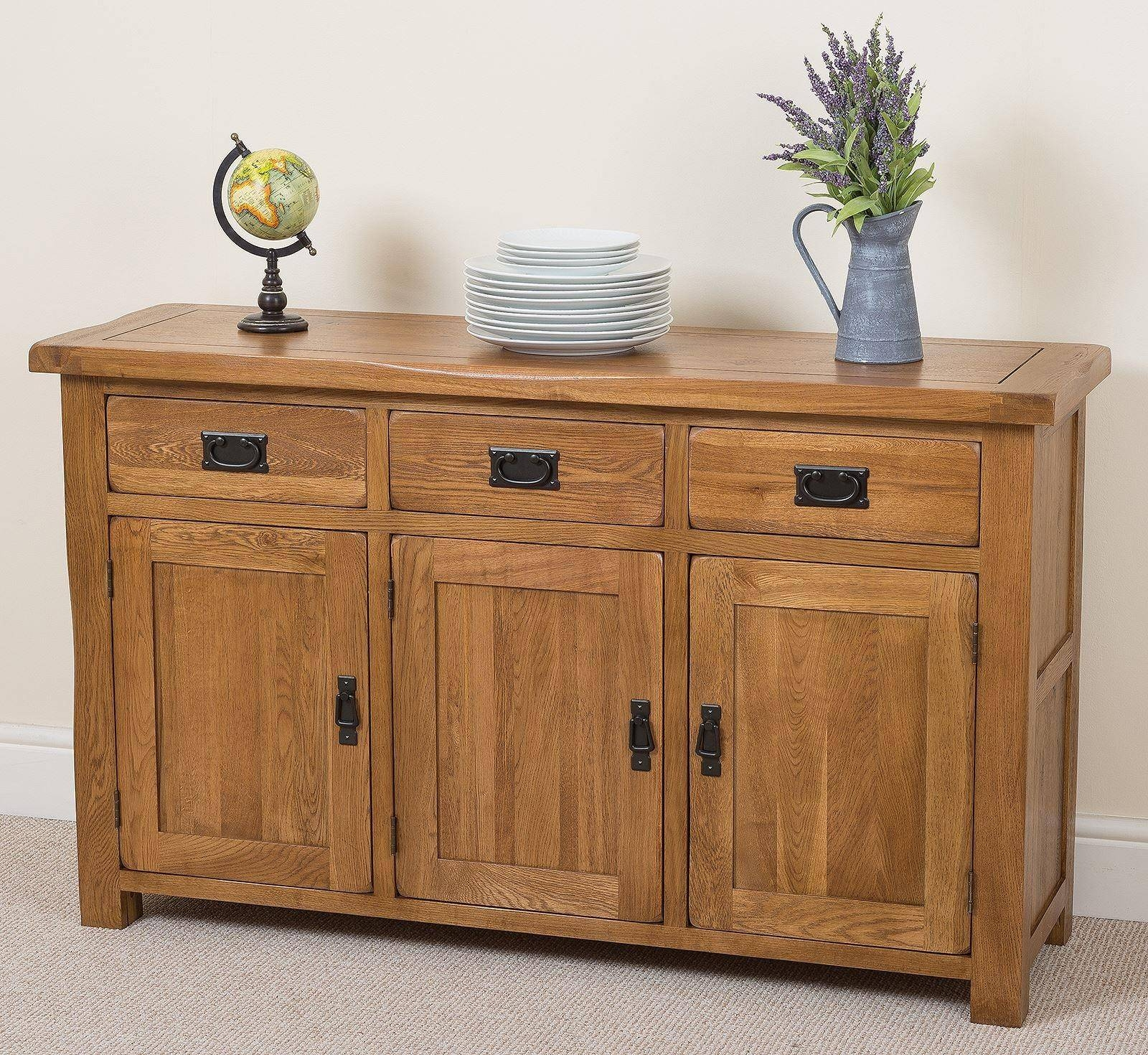 Cotswold Large Oak Sideboard | Free Uk Delivery with Rustic Oak Large Sideboards (Image 5 of 15)