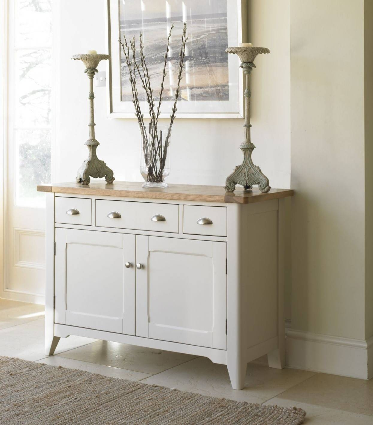 Cottage Oak And Painted Small Sideboard   Oak Furniture Uk With Regard To Painted Sideboards (View 4 of 15)