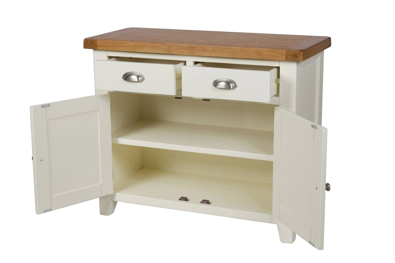 Country Cottage 100Cm Cream Painted Oak Sideboard with regard to Cream and Oak Sideboards (Image 2 of 15)