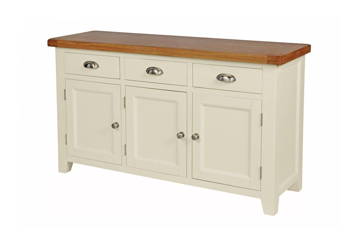 Country Cottage 140Cm Cream Painted Large Oak Sideboard intended for Cream and Brown Sideboards (Image 1 of 15)