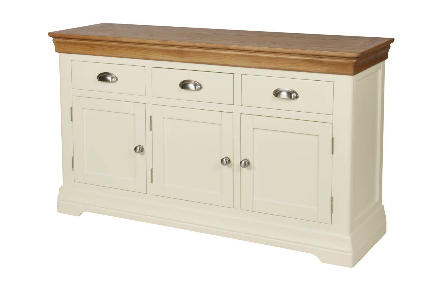 Country Oak Farmhouse 140Cm Cream Painted Sideboard intended for Farmhouse Sideboards (Image 3 of 15)