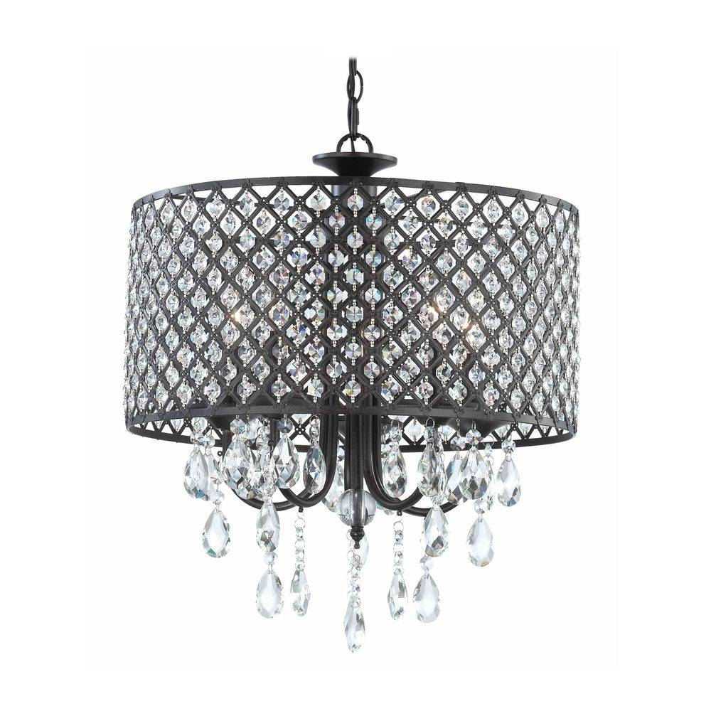 Crystal Chandelier Pendant Light With Crystal Beaded Drum Shade Intended For Beaded Pendant Light Shades (View 4 of 15)