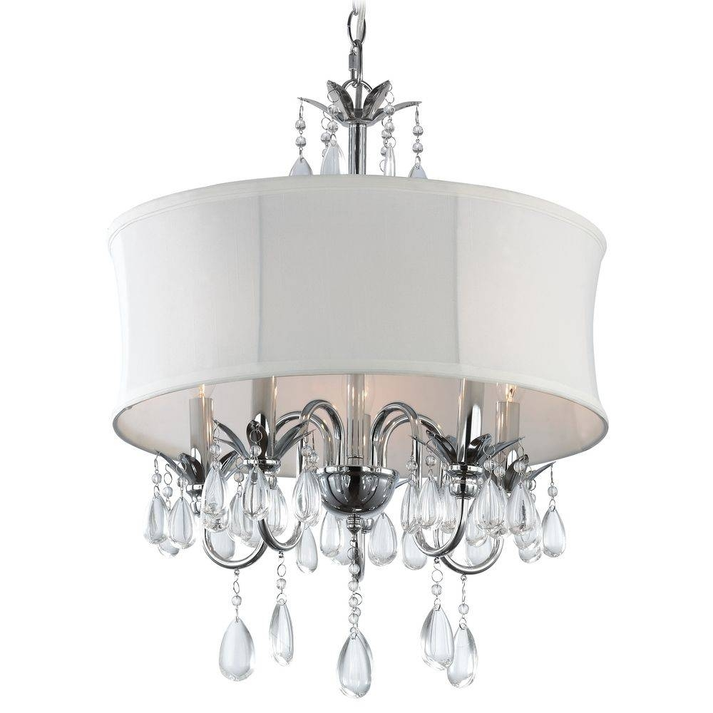 Crystal Chandelier Pendant Light With Crystal Beaded Drum Shade With Regard To Beaded Pendant Light Shades (View 11 of 15)