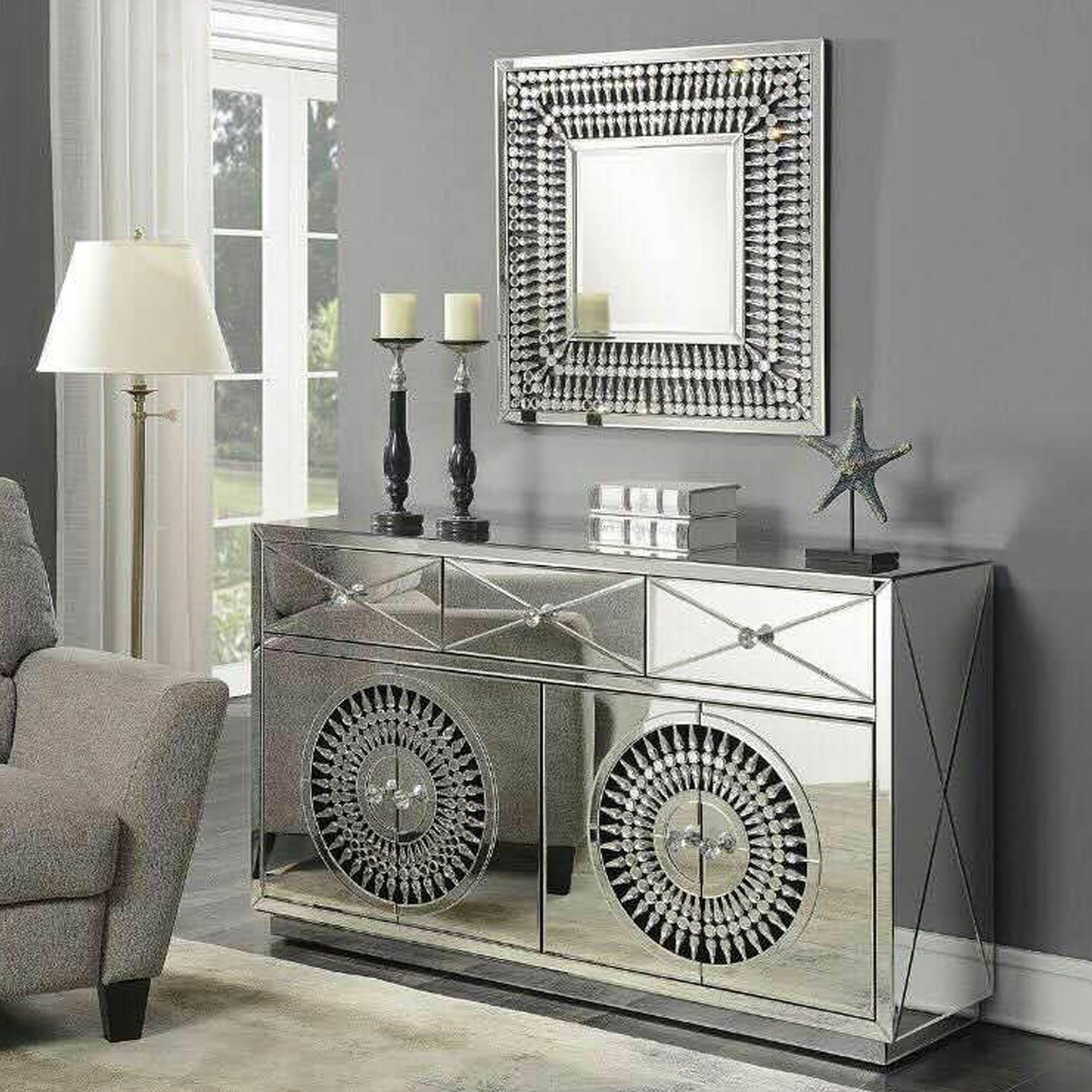 Crystal Mirrored Sideboard | Sideboard | Homesdirect365 Regarding Mirror Sideboards (View 6 of 15)
